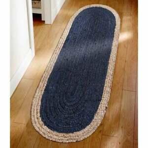 blue color natural border indian jute oval rug home decor rug hallway jute rug