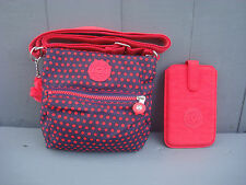 KIPLING Blue, Red Polka Dot Small Shoulder Bag & Phone Wallet X-mas Gift