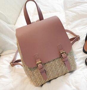 New Women Straw Backpack Bag Handbag Bohemian Rattan Woven Travel Purse S