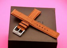 New Gucci 17 MM Brown Alligator Watch Band - Reg -  With Silver Clasp- (17.135)