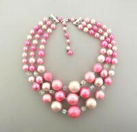 Vintage Japan Pink Faux Pearl Multi-strand Statement Necklace