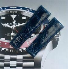Aftermarket Handmade Dark Blue Crocodile Rolex Daytona Strap 20mm X 16mm