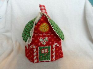 Vintage Christmas gingerbread man house square tissue box cover