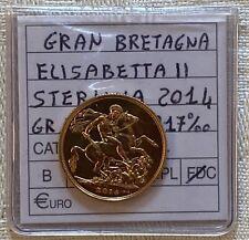 Moneta STERLINA 2014 ORO SOVRANA ONE FULL SOVEREIGN ELISABETTA II° FDC Gold