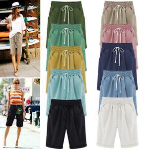 Damen Lose Sommerhose Capri Kurze Hosen Freizeit Bermuda Tasche Shorts Übergröße