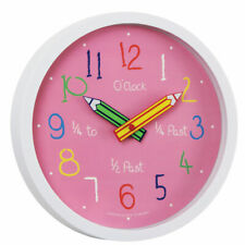 London Clock Co. Colouring Box Children Kids School Wall Clock, Pink 24153