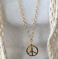 Fashion Jewelry long chain Sweater necklace with Peace pendant Made in USA