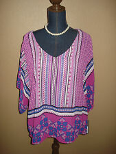 APT.9 Pink Blue Geometric Print Sheer Overlay Top Plus Size 0X NWT