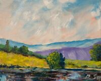 Oil Painting IMPRESSIONISM LANDSCAPE CONTEMPORARY RIVER HILLS TREES