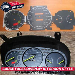 Gauge Faces Overlay Kit Honda Civic EK EJ 1996-2000 Spoon Style EDM USDM OEM New