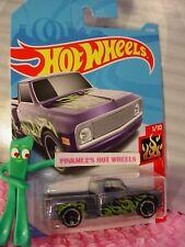 CUSTOM 69 CHEVY PICKUP truck #11✰purple;✰green FLAMES✰2018 i Hot Wheels Case A/B