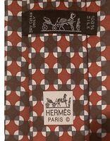 "Hermes Men's Red Geometric Twillpop 100% Silk Tie 5424 OA France 3.25"" Mint"