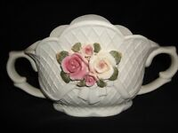 "Vintage White Jasperware Bowl Vase Center Piece with Applied Pastel Flowers 5""H"