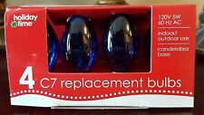 Holiday Time Blue C7 Replacement Bulbs 120V 5W 60Hz Ac 4-Count