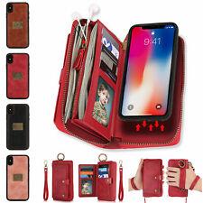 For iPhone 11 Pro Max/XS XR 876 Detachable Wallet Card Case Leather Purse Zipper