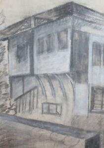 VINTAGE PASTEL DRAWING OLD HOUSE
