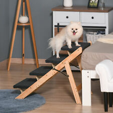 More details for pawhut dog steps pet stairs 2 in 1 dog ramp foldable 4 steps for bed 80x47x64cm