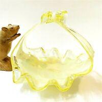 Opalescent Lemon Art Glass Basket Bowl 16cm High,  Pristine