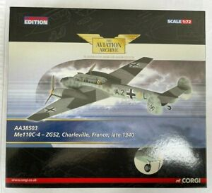 Corgi Aviation AA38503 1/72 scale ME110 ZG52 Charleville Late 1940 Ltd. Edition