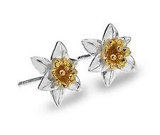 Celtic Lands Sterling Silver 925 Daffodil Flower Stud Earrings in Gift Box