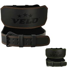 """VELO Power Weight Lifting Buffalo Hide 6"""" Leather Belt Gym Fitness Back Support"""