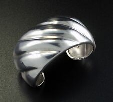 Vintage Los Ballesteros Taxco Mexico Wide Chunky Sterling Silver Cuff Bracelet