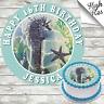SEA HORSE ROUND EDIBLE BIRTHDAY CAKE TOPPER DECORATION PERSONALISED