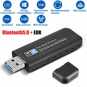 1300Mbps Bluetooth5.0+EDR USB3.0 WiFi Adapter Dual Band for Windows/Linux/Mac OS