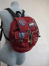 Retro Kipling Private Transport Alpine Monkey Badge Ski Backpack Rucksack Red