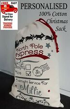 100% Cotton Personalised North Pole Express Beautiful drawstring Christmas sack