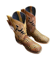 Men's Genuine Hand Braided  Square Toe Cowboy Western Leather Boots 822TE6250
