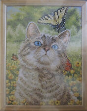 Bucilla Buttercup Counted Cross Stitch Kit 45397 Heirloom Cat & Butterfly NIP