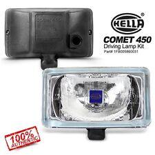Pair Genuine HELLA Comet 450 White Clear Lens Rectangular Driving Lamp Fog Light