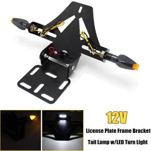 12V Motorcycle License Plate Frame Bracket w/LED Turn Light Tail Lamp Universal