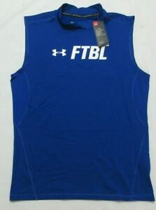 Under Armour FTBL Heat Gear Compression Fit Men's Blue Muscle Shirt XXL