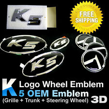 K5 OEM Emblem(Grille+Trunk+Steering) 3D K Logo Wheel for 2011-2013 Optima / K5