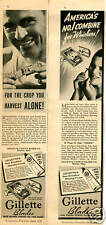 2 1938 Gillette Blue Razor Blade Combine For Whiskers Print Ad