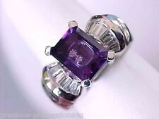 $3,939  DESIGNER! FLOATING DIAMOND UNIQUE SHOPNBC 14K AMETHYST G/VS DIAMOND RING