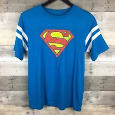 Boys Size XL Yoke Striped Short Sleeve Graphic Tee Superman Logo Blue Licensed