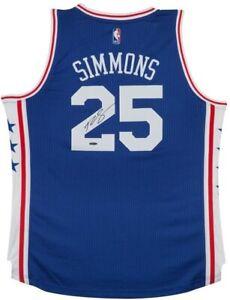 BEN SIMMONS Autographed Philadelphia 76ers Away Blue Jersey UDA