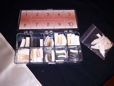 Lot of Nail tips one box 1 baggie White-Clear-Misc