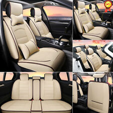 AU Universal Car PU Leather Seat Covers Beige 5-Seats SUV Front+Rear w/ Pillows