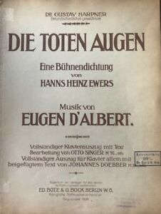 Klavierauszug  Eugen d'Albert Die toten Augen Vocal Score
