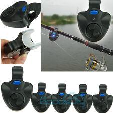 5x Electronic Fish Bite Fishing Sound Bell Alarm Alert Clip On Rod W/ LED Light