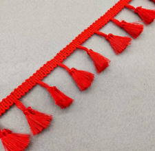 Red 4cm Trim Tassel Fringe Cotton Lace Ribbon Price per 30cm DIY Craft Decor
