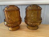 Pair (2) Vtg Indiana Glass Stars And Bars Footed Amber Fairy Lamps 1970's Fall