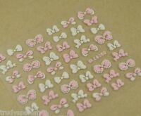 Pink and White Bows 3D Design Nail Art Stickers Decals Gel Polish Decoration 636