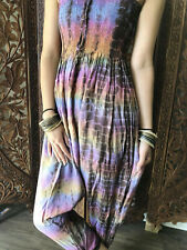 Boho Gypsy Hippy Colorful Tie Dye Jumpsuit Casual Summer Style Romper Dress S