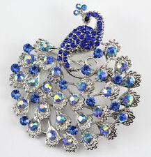 Blue Fine Austrian Rhinestone Crystal Sparkling Peacock Wedding Brooch Pin