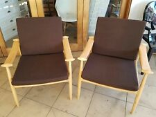X Display Nick Scali Retro Danish arm chairs in oak wood& Brown ORP$899